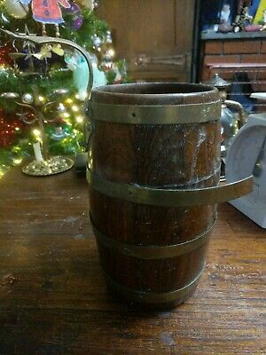 Antique Brass Banded Advertising Barrel W.F Brand