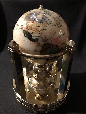 ALEXANDER KALIFANO DESIGNED GEMSTONE WORLD GLOBE, CLOCK, THERMO & HYGROMETER