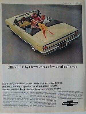 1965 yellow Chevrolet Chevelle Malibu Super Sport convertible car vintage ad 1965 Chevelle Malibu Convertible