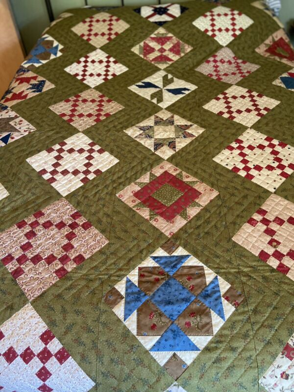 """Twin to Full Size Handmade Quilt, Nine Patch Blocks, 76"""" x 88"""""""
