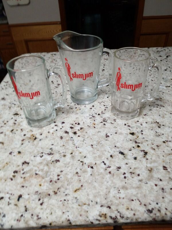 Slimjim Glass Beer Pitcher & 2 Beer Mugs Steins 8in Tall Heavy Glass Man Cave