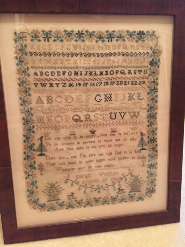 1836 Early American Sampler ABCs, Numbers, Professionally Framed 12x16