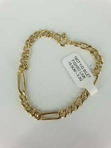 18CT YELLOW GOLD BRACELET FIGARO SMALL SIZE #231545 Lawnton Pine Rivers Area Preview