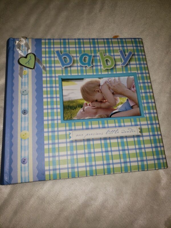 """Baby Photo 4""""X6"""" 200 Memo Pocket Baby Embroidered Album Blue/Green"""