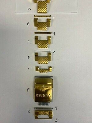 Invicta Subaqua Noma III 3 Gold Tone Watch Band Parts Link Screw Pin Clasp