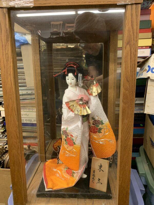 "26"" Geisha Doll Vintage In Oak Case"