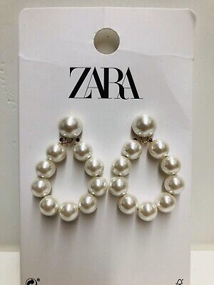New ZARA Pearl Drop Dangle Earrings Butterfly Screw Closure Fashion #1269