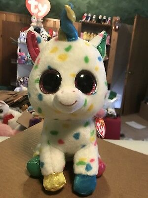 "Ty HARMONIE White w/Multi-Color Confetti Fabric Unicorn 10"" Beanie Boo Buddy!"