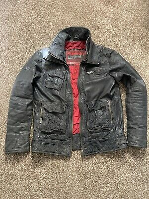 SUPERDRY TARPIT Leather Biker  Jacket Size XL Great Condition Black