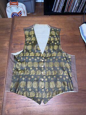 1940s Men's Shirts, Sweaters, Vests Vintage 1930s 1940s Patterned Silk Waist Coat Depression Vest Wood Buttons $79.99 AT vintagedancer.com