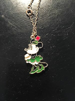 Vintage 1960s Disney Minnie Mouse enamel necklace with chain. Excellent shape!