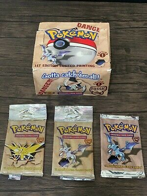 1st Edition Pokemon FOSSIL EMPTY Booster Box + 3x Booster Pack Art Set