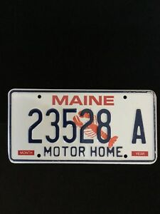 MAINE STATE OF USA MOTOR HOME LICENSE PLATE 23528 A