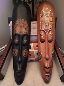 2 Large Pearl Inlaid African Masks