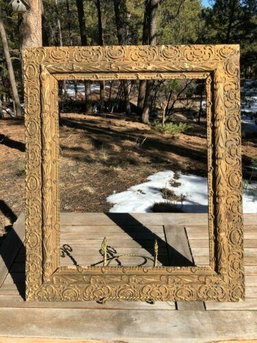 ANTIQUE PICTURE FRAME GOLD GILT WOOD PLASTER, CIRCA. 1800