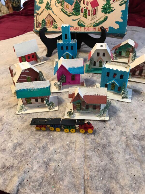 Vintage Christmas Cardboard Village Lighted Set/Japan. Very Good Condition