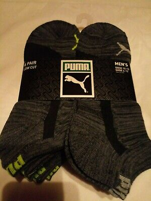 Puma Mens 6 pair pack low cut Size 10-13 Black/Grey
