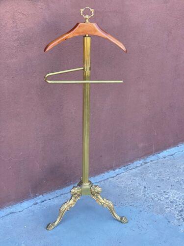 Vintage Brass & Wood Clothing Valet Butlers Rack Dressing Stand Coat Hat Hanger