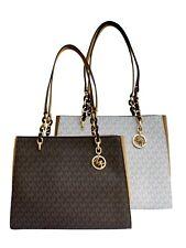 Michael Kors Sofia Susannah Large Chain Tote Brown Vanilla MK Signature Acorn