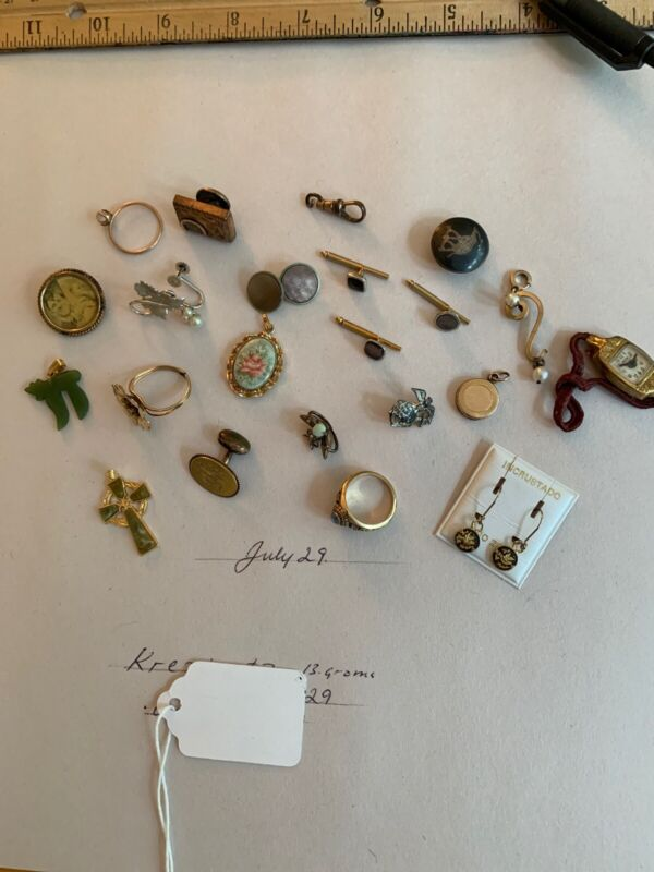 Odd Lot Pins Cuff Links Pendant, Pins GF, GP& Sterling