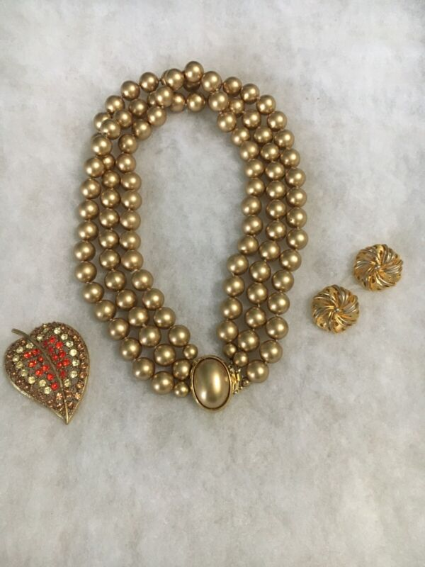 Gold Tone Faux Pearl Beads W/ Brooch & Earrings Used