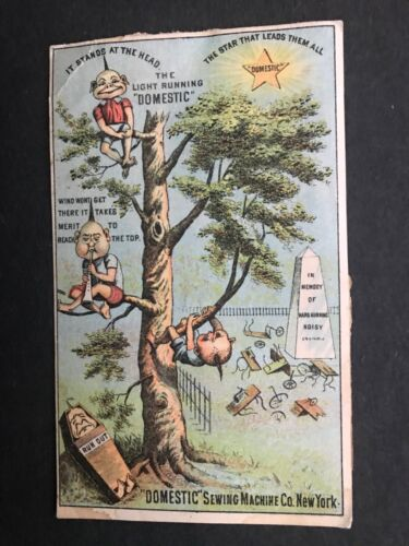 Domestic Sewing Machine Trade Card Unusual Characters