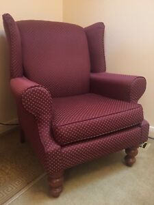 Red Armchairs X2 Quality Solid Excellent Condition