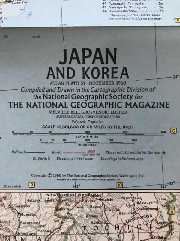 1960 (Dec) Japan and Korea; National Geographic; Excellent Condition