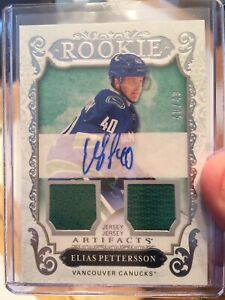 Elias Pettersson Signed Double Jersey Artifact 40/49