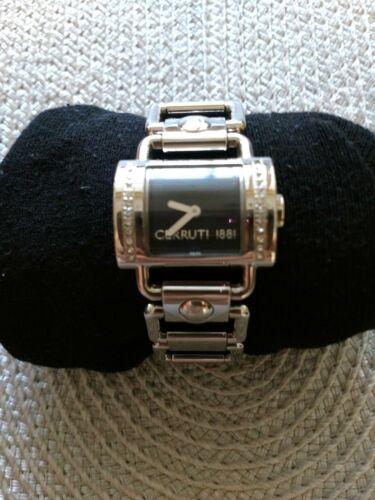 Silberfarbene Cerrutti Damenuhr mit schwarzem Zifferblatt, ohne Batterie