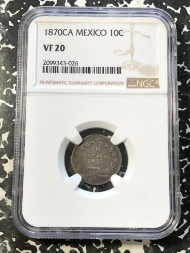 1870-Ca Mexico 10 Centavos NGC VF20 Lot#G182 Silver! V. Scarce! 17,000 Minted!