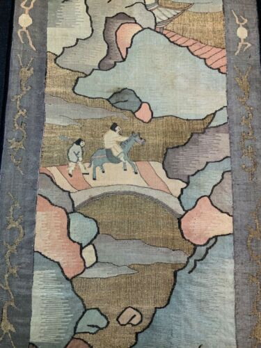 ANTIQUE EARLY 20th c CHINESE SILK KESI TAPESTRY 97 cm L EMBROIDERED EMBROIDERY!