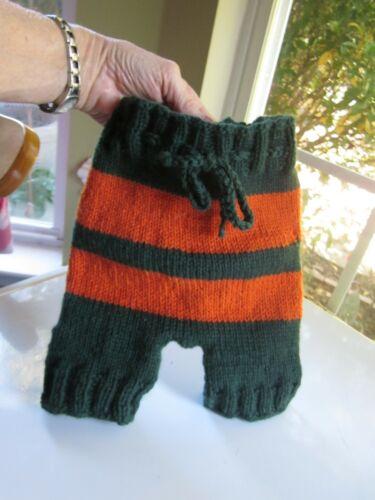 "Baby Diaper Cover Wool Soaker Hand Knit Halloween Orange Green Lanolized 16"" hip"