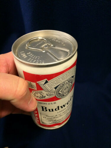Budweiser aluminum beer can error with Pabst blue ribbon pop top. 1970s.