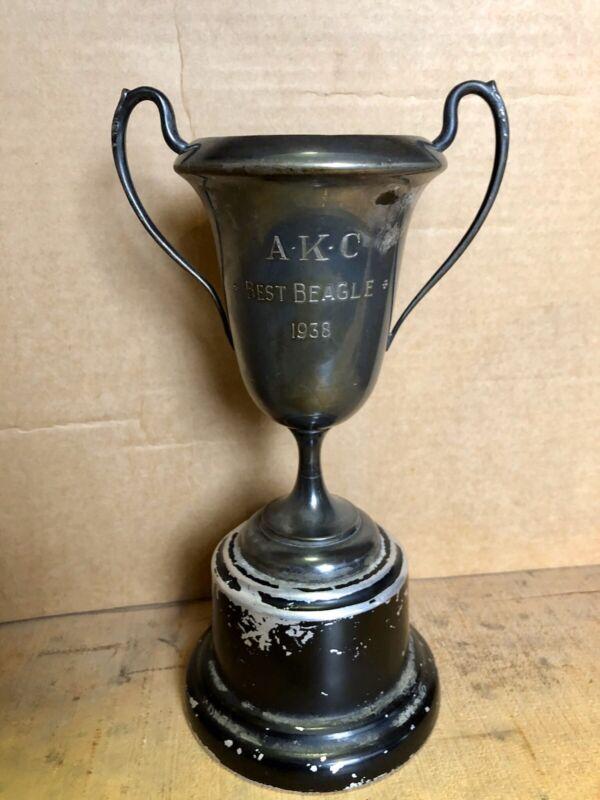 Antique 1938 AKC Dog Show Best In Show Trophy, Best Beagle