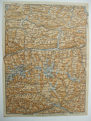 antica mappa antique old print map TIROLO KITZBUHEL MITTERSILL LOFER LIENZ 1911