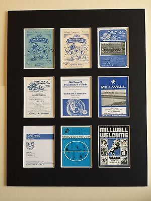 """MILLWALL FC RETRO PROGRAMME PICTURE MOUNTED 14"""" By 11"""" READY TO FRAME"""