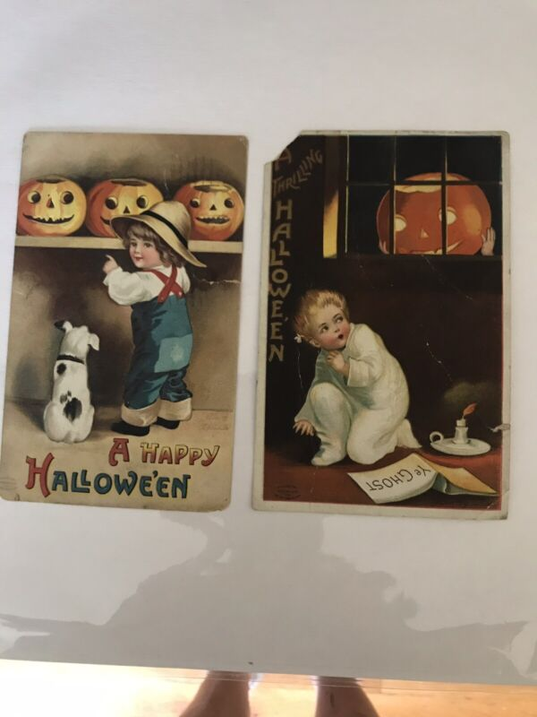 Two Halloween Clapsaddle Vintage Postcards Boy Pumpkin 1911