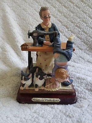 J & J Victoria Collection Women Sewing Boys Pants Collectible Figurine Cats 2001 for sale  Rossville