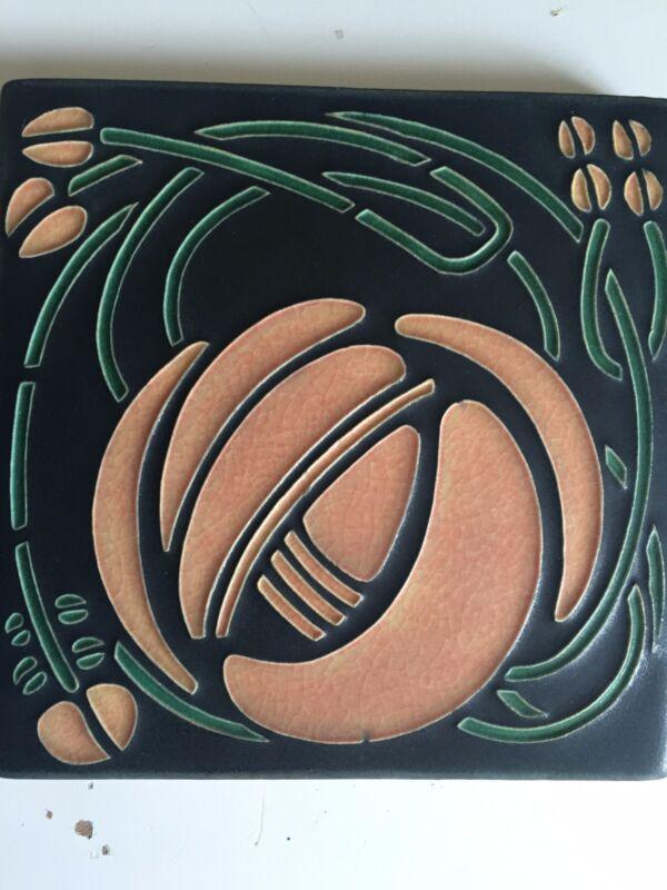 Motawi Tileworks Trivet Wall Tile Art Deco Design Discontinued Vintage Green
