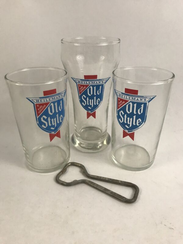VINTAGE HEILEMANS OLD STYLE BEER GLASS LOT AND OPENER K9