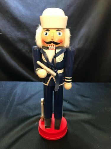 """14"""" Wooden Navy Sailor Christmas Nutcracker W/ Nautical Telescope & Anchor"""