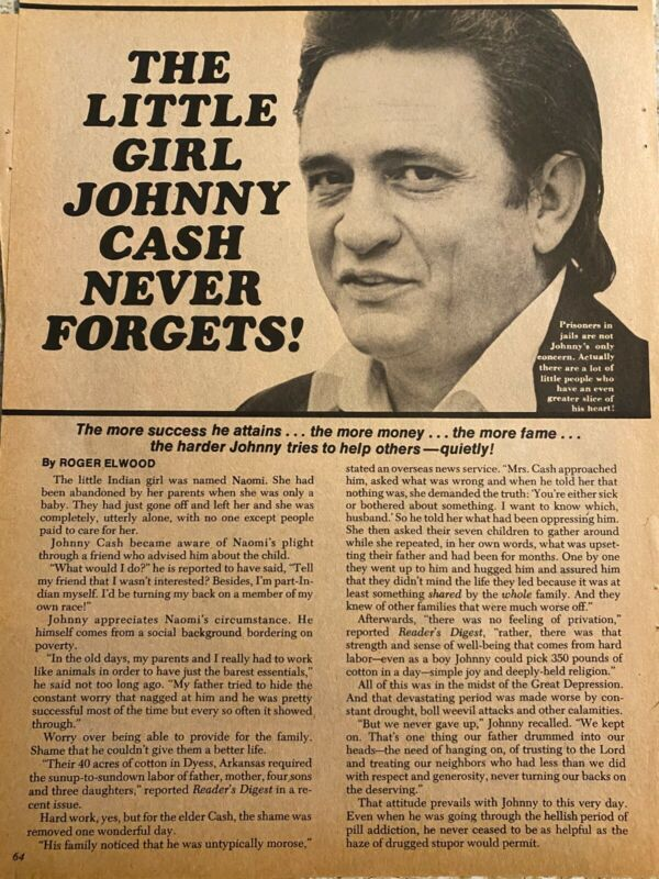 Johnny Cash, Two Page Vintage Clipping