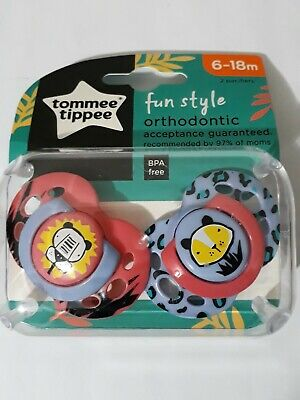 Package Tommee Tippee Fun Style 2 Orthodontic Pacifiers 6-18 Month, BPA FREE 1pk