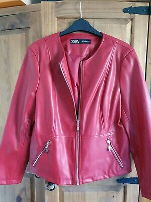 Ladies zara leather jacket xl new