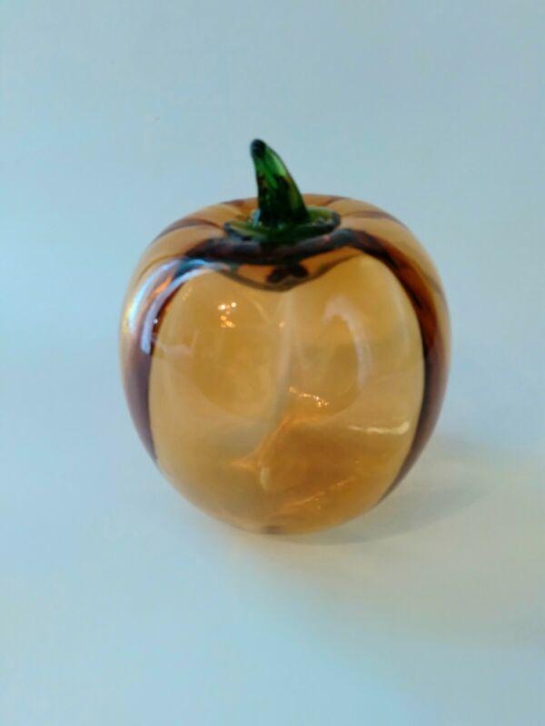 Vintage Blenko Art Glass Pumpkin with Green Stem