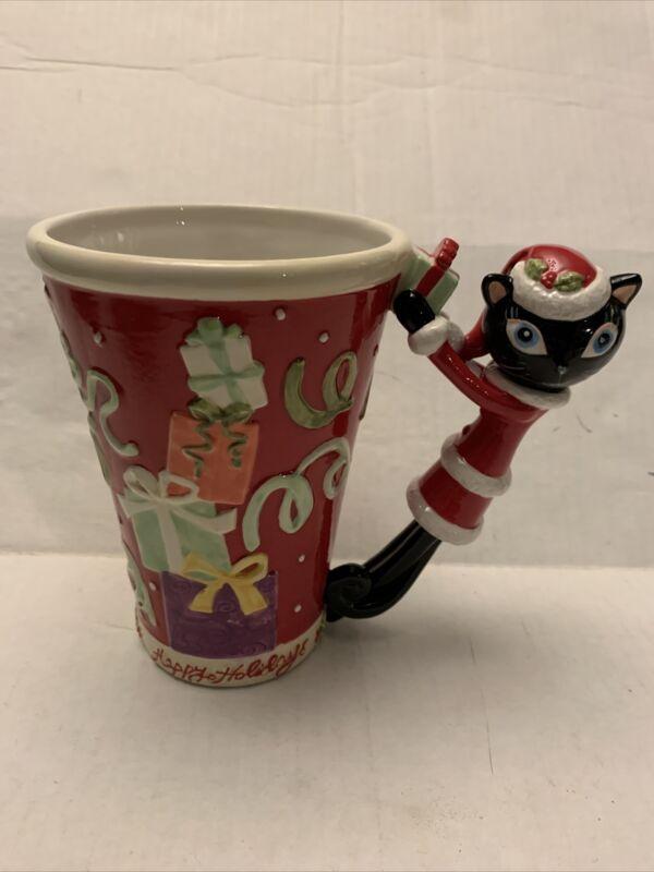 Department 56 HAPPY HOLIDAYS Christmas Cat Mug Coffee Cup Rare