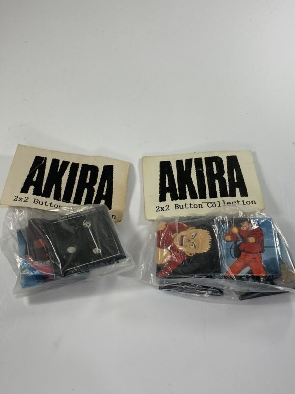 Lot Of 2 Vtg 1989 Akira Committee 2x2 Button Collection Pins back Sealed