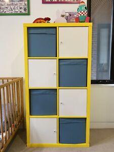 IKEA Kallax Bright Yellow Storage Shelving Unit with Doors & Baskets
