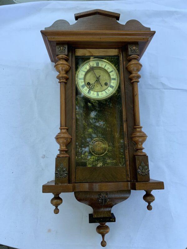 RARE Vintage Wood Wall Hanging Clock Enamel Faced Clock R=A Y5